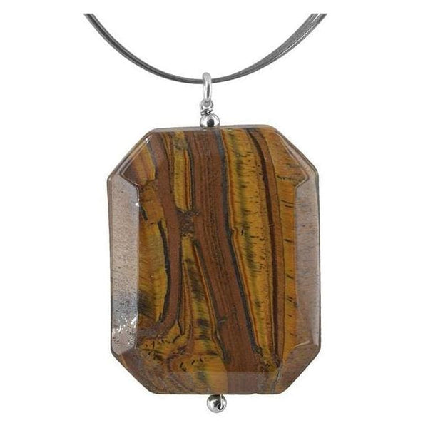 Large Tiger Eye Pendant | Brown Gemstone Necklace - Necklaces