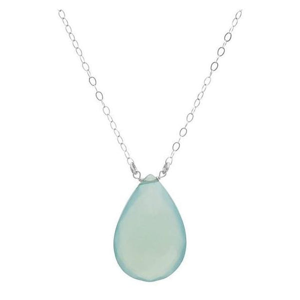 Light Blue Aqua Chalcedony Briolette Gemstone 925 Sterling Silver Handmade Necklace - Necklaces
