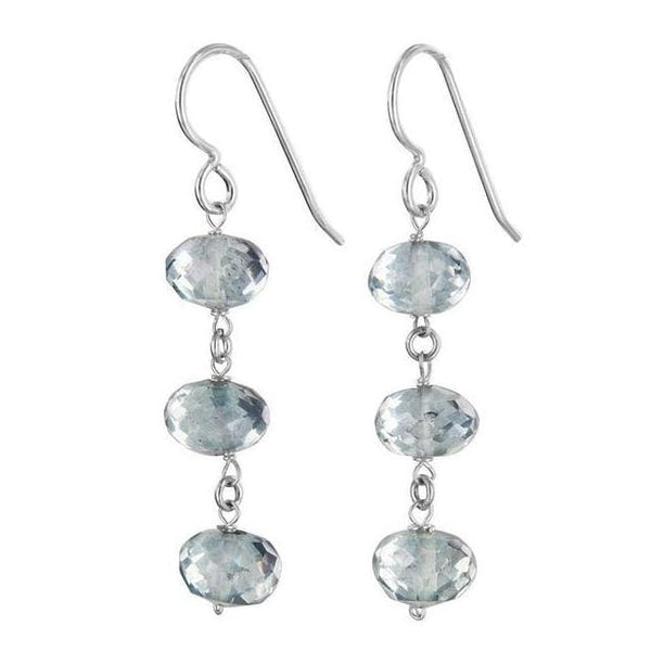 Light Blue Dangle Earrings | Blue Quartz Gemstones - Earrings