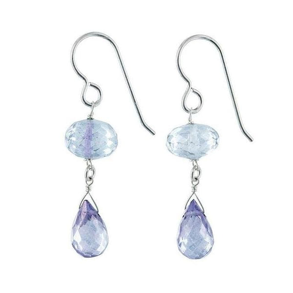 Light Blue Earrings | Blue Quartz Gemstone Dangle Earrings - Earrings