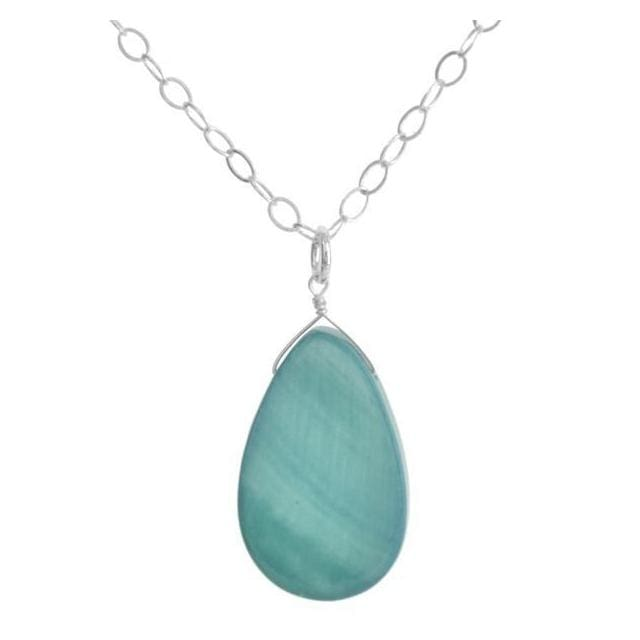 Light Blue Necklace | Mother of Pearl Jewelry | Teardrop Pendant - Necklaces