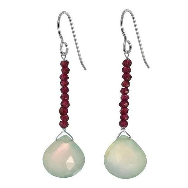 Light Green Chalcedony and Rhodolite Garnet Natural Gemstone Sterling Silver Handmade Earrings - Earrings