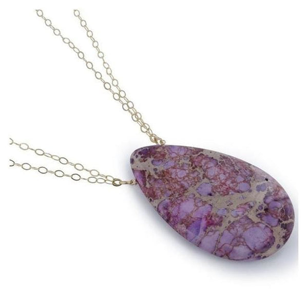 Lilac Jasper Gemstone 14 Karat Gold Filled Handmade Necklace - Necklaces