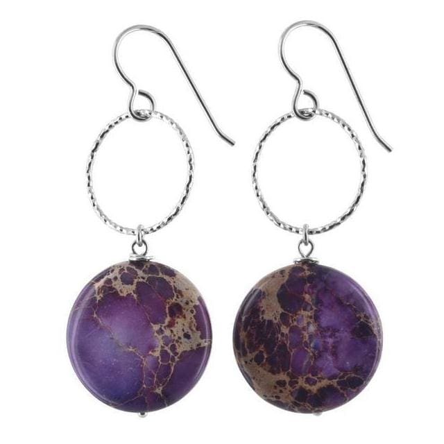 Lilac Jasper Gemstone Sterling Silver Handcrafted Earrings - Earrings
