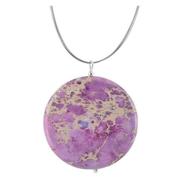 Lilac Jasper Gemstone Sterling Silver Handcrafted Pendant on a Stainless Steel Wire Necklace - Necklaces