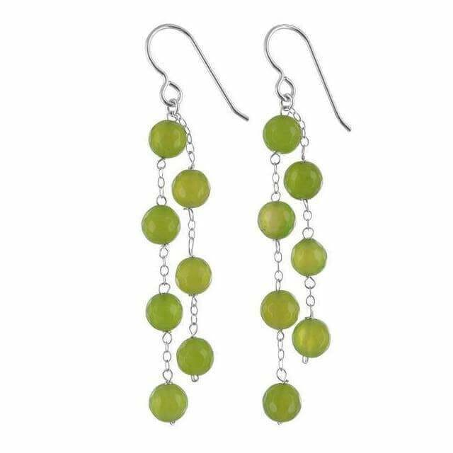 Lime Green Agate Gemstone Sterling Silver Handcrafted Chandelier Earrings - Earrings
