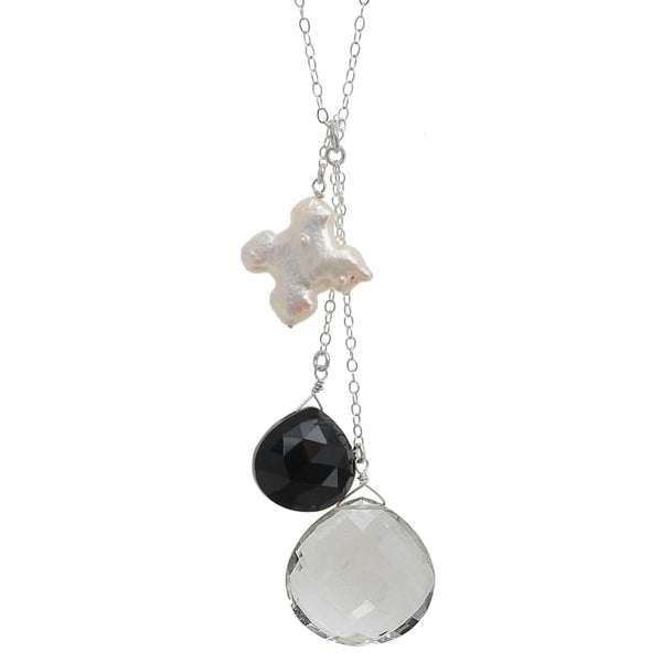 Long Black and White Pendant | Rock Crystal Black Onyx Cross Pearl Necklace - Necklaces