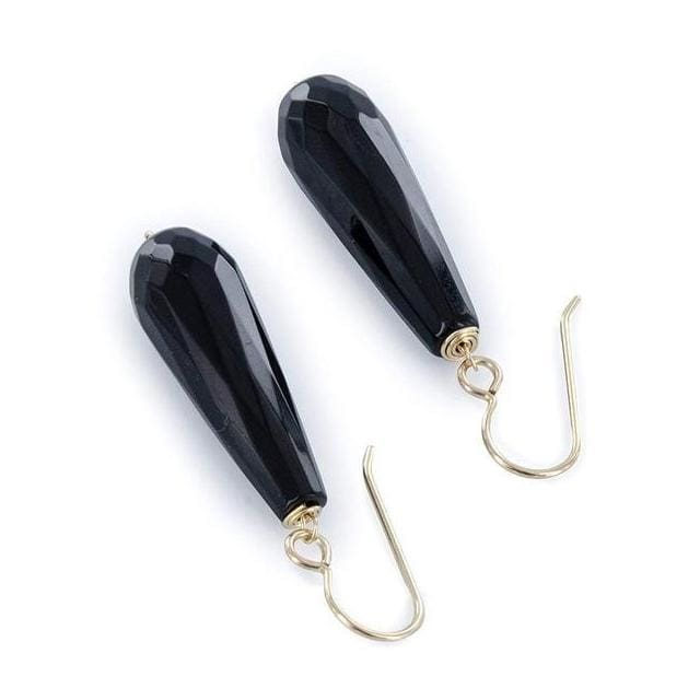 Long Black Earrings | Black Onyx Gemstone Drop Silver Earrings - Earrings