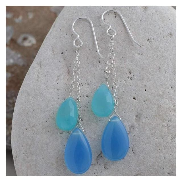 Long Blue Earrings with Blue Chalcedony Briolette Gemstones and Sterling Silver - Earrings