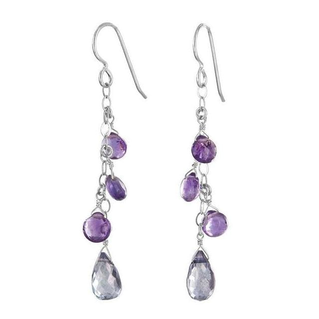 Long Chandelier Earrings | Amethyst Blue Quartz Gemstone Earrings - Earrings