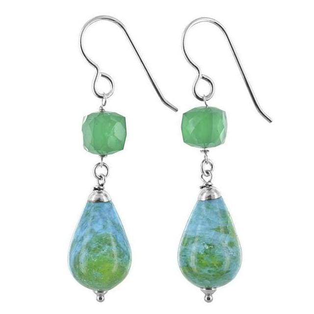 Long Dangle Earrings with Blue Green Jasper Briolette Emerald Chalcedony and Sterling Silver - Earrings
