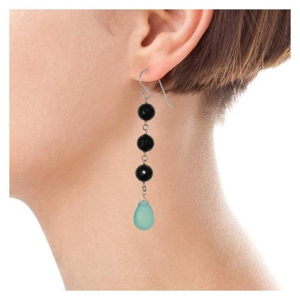 Long Earrings: Aqua Blue Chalcedony and Black Spinel Silver Dangle Earrings - Earrings