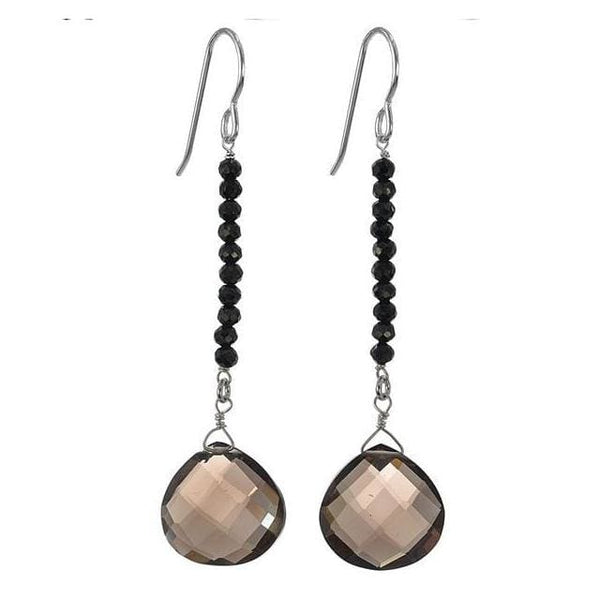 Long Earrings: Smokey Quartz Black Spinel Gemstone Silver Handmade Earrings - Earrings