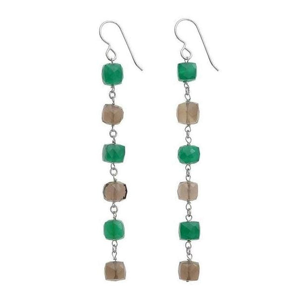 Long Gemstone Earrings | Green Chalcedony Smoky Quartz - Earrings