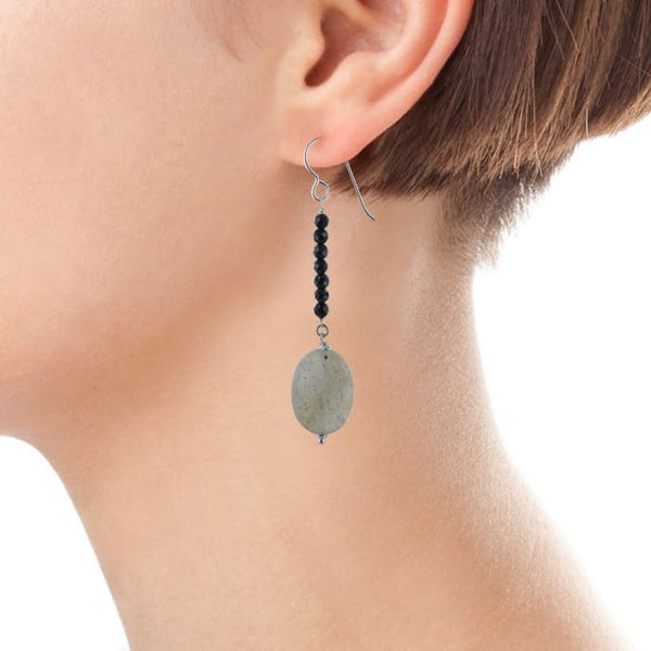 Long Gemstone Earrings | Labradorite Black Onyx - Earrings