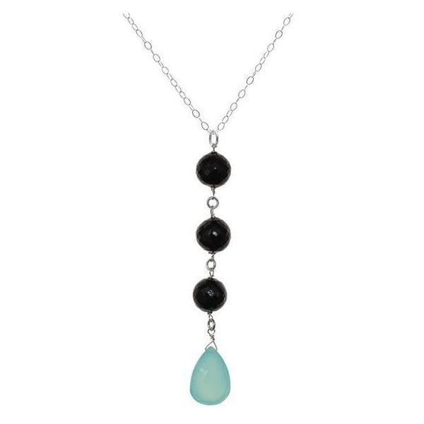 Long Gemstone Pendant Necklace | Aqua Blue Chalcedony Black Spinel - Necklaces