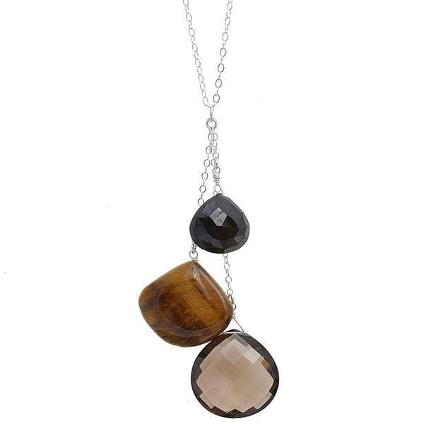 Long Gemstone Silver Necklace: Smokey Quartz Tiger Eye Black Spinel Briolette - Necklaces