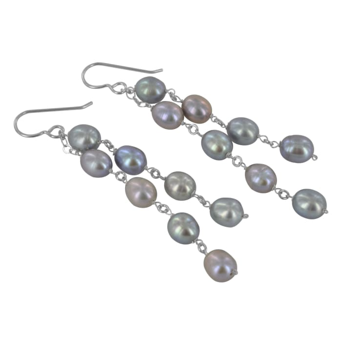 Long Pearl Earrings | Pearl Dangle Sterling Silver Earrings - Earrings