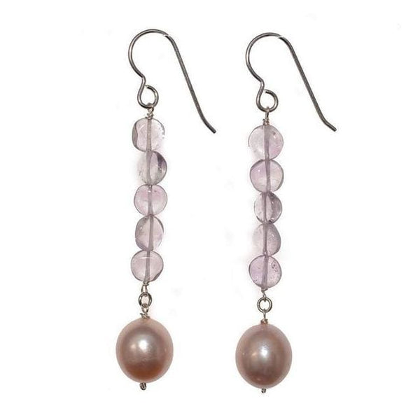 Long Pearl Earrings | Pink Freshwater Cultured Pearls Pink Amethyst Gemstones - Earrings