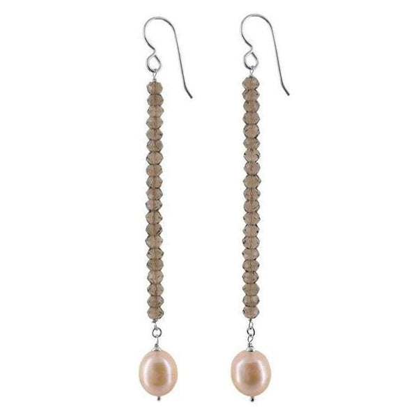 Long Pearl Earrings with Smokey Quartz Sterling and Handmade with 925 Sterling Silver - Earrings