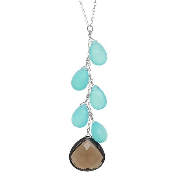 Long Pendant | Smokey Quartz Aqua Blue Chalcedony Necklace - Necklaces