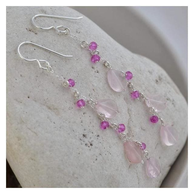 Long Pink Earrings | Rose Quartz Hot Pink Quartz Gemstones - Earrings