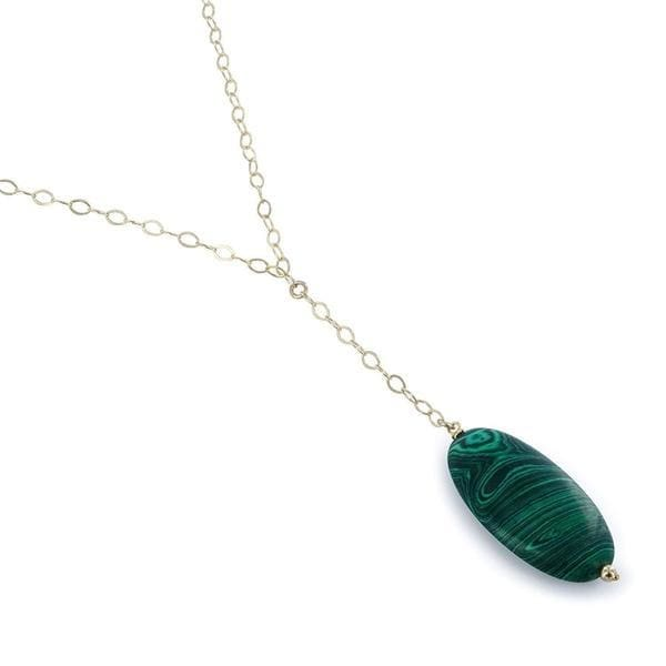 Malachite Natural Gemstone Sterling Silver Handcrafted 18 Inch Necklace - Necklaces