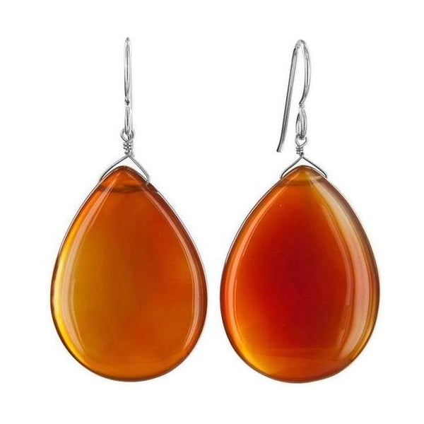 Maple Brown Agate Bold Large Gemstone Sterling Silver Earrings - Earrings