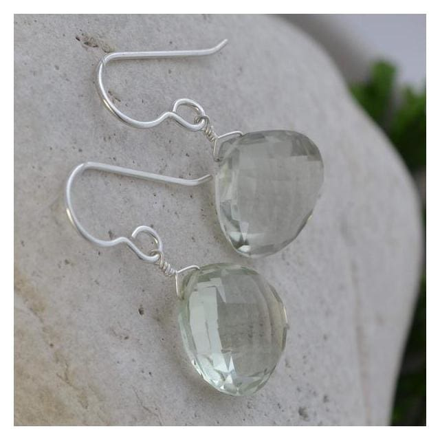 Mint Green Amethyst Briolette Natural Gemstone 925 Sterling Silver Handmade Dangle Earrings - Earrings
