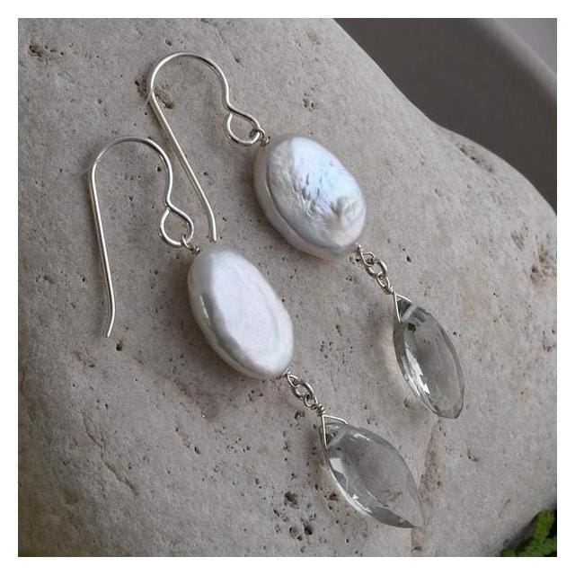 Mint Green Amethyst Gemstones - Freshwater Coin Pearls - 925 Sterling Silver - Handmade Earrings - Earrings