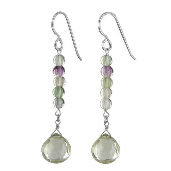 Mint Green Quartz and Fluorite Gemstone Sterling Silver Handmade Dainty Dangle Drop Earrings - Earrings