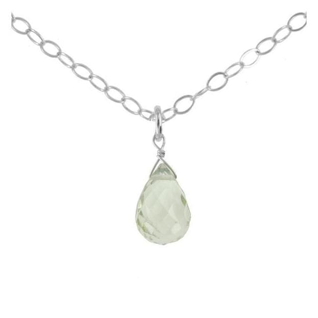Mint Green Quartz Gemstone Sterling Silver Handcrafted Pendant - Necklaces