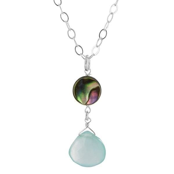 Mother of Freshwater Cultured Pearl Aqua Chalcedony Gemstone Sterling Silver Pendant Necklace - Necklaces