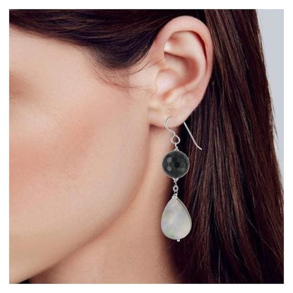 Mother of Pearl and Onyx Sterling Silver Handcrafted Earrings - Earrings