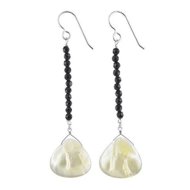 Mother of Pearl Black Onyx Gemstone Sterling Silver Handcrafted Long Earrings - Earrings