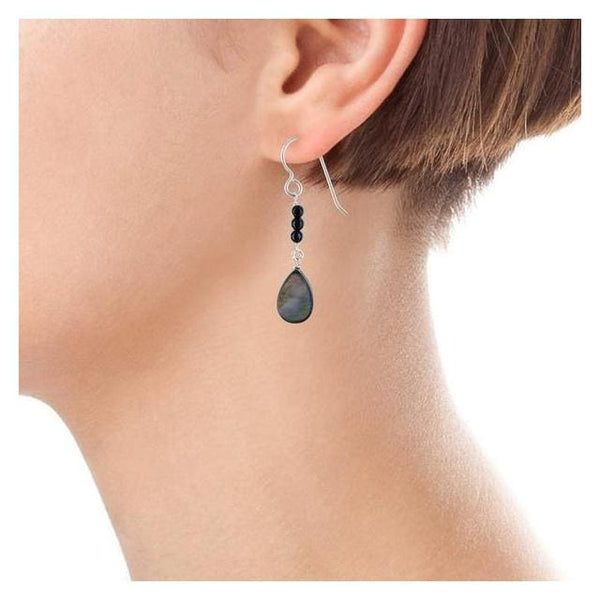 Mother of Pearl Black Onyx Gemstone Sterling Silver Handmade Dainty Dangle Drop Earrings - Earrings