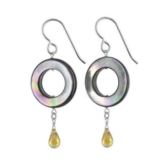 Mother of Pearl Citrine Gemstone Sterling Silver Handcrafted Earrings - Earrings