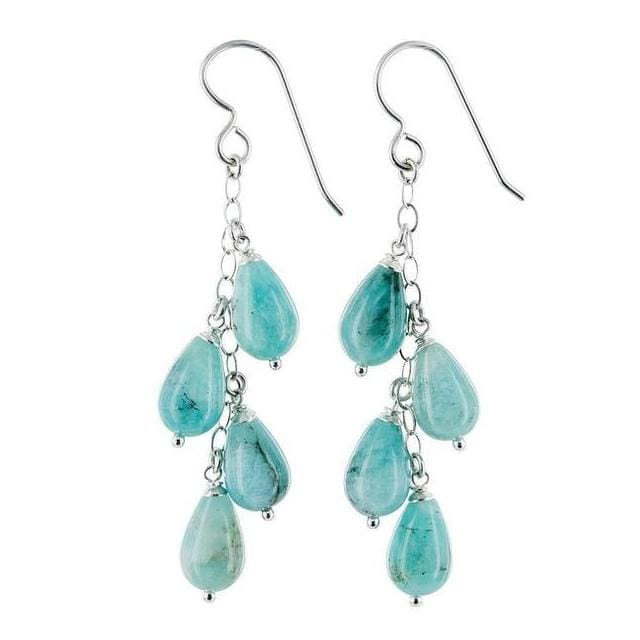 Mothers Day Gifts Amazonite Gemstone Sterling Silver Handmade Long Chandelier Earrings - Earrings