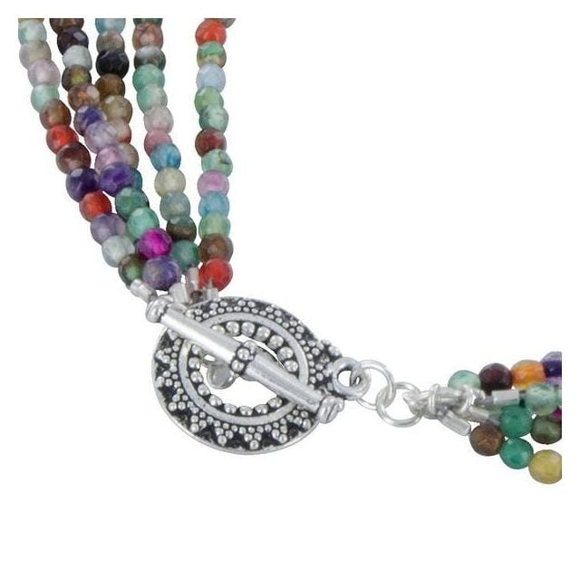Multi Color Agate Gemstone 925 Sterling Silver Multi Strand Necklace with Pewter Toggle Clasp - Necklaces