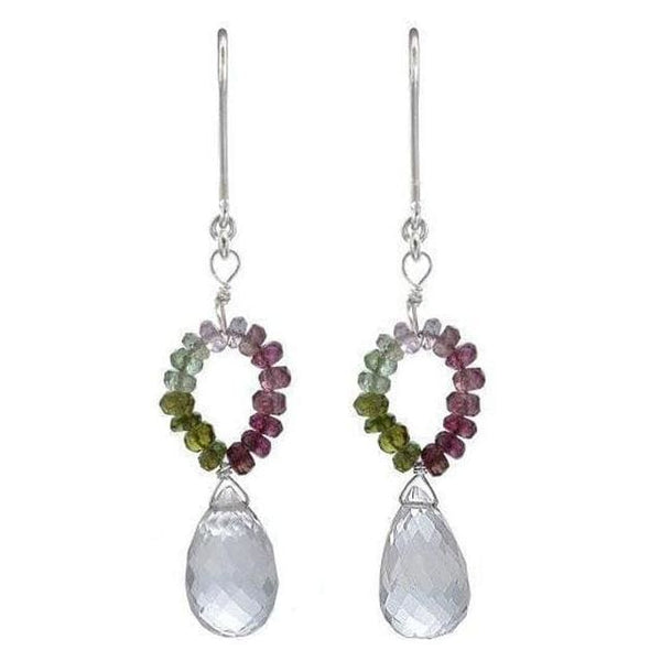 Multi-Color Tourmaline & Natural Rock Crystal Briolette Dangle Earrings - Earrings