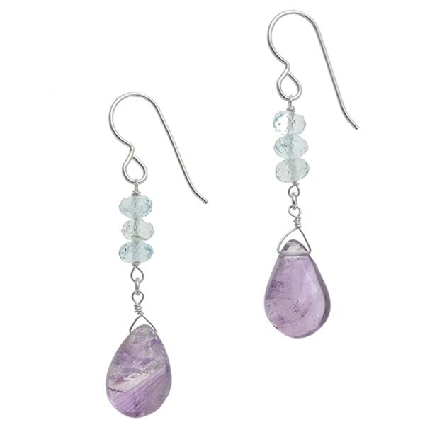 Natural Amethyst and Aquamarine Earrings - Natural Gemstone Sterling Silver - Handmade Earrings - Earrings
