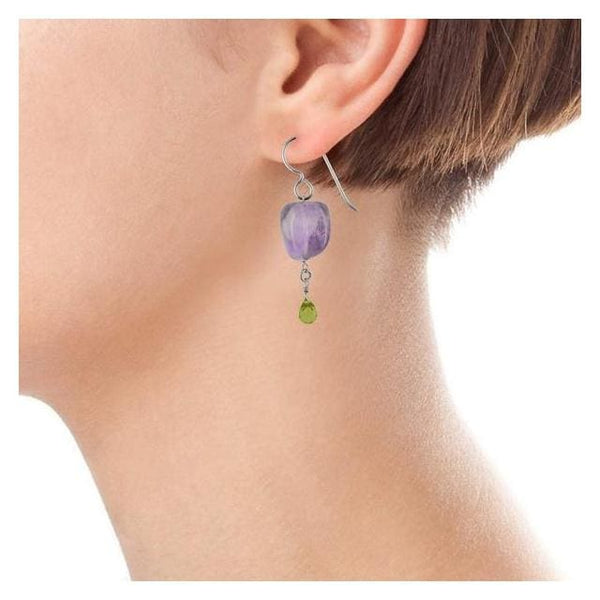 Natural Amethyst and Peridot Earrings - Gemstone Sterling Silver Handcrafted Earrings - Earrings