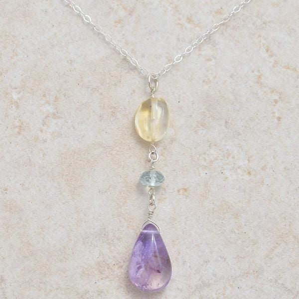 Natural Amethyst Citrine and Aquamarine Multi Gemstone Sterling Silver Handmade 18 Inch Necklace - Necklaces