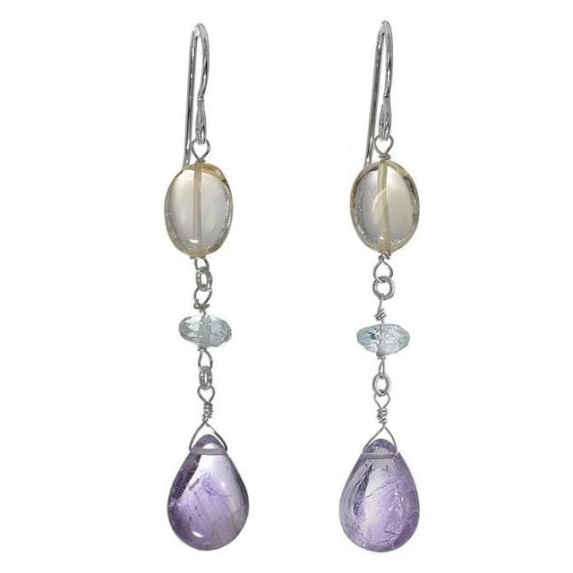 Natural Amethyst Citrine and Aquamarine Sterling Silver Handmade Multi Natural Gemstone Earrings - Earrings