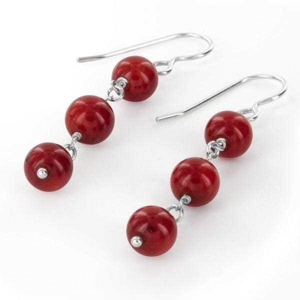Natural Bamboo Coral Sterling Silver Handmade Designer Earrings - Earrings