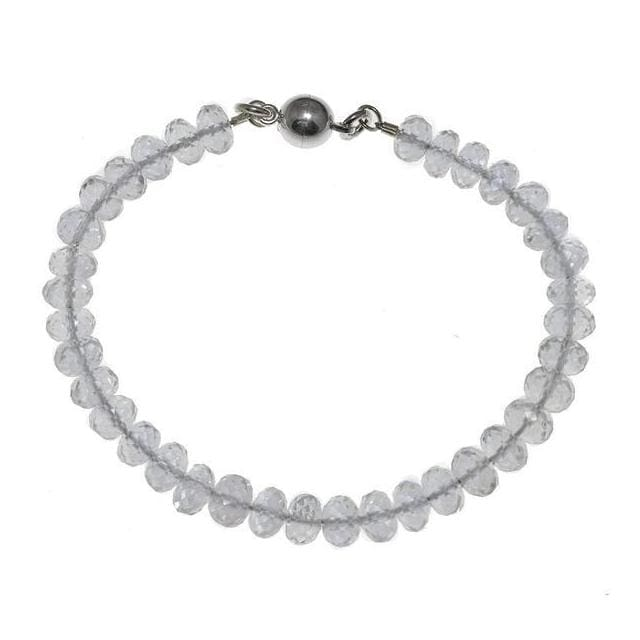 Natural Rock Crystal Natural Gemstone Sterling Silver Handmade Bracelet with Easy Magnetic Clasp - Bracelets
