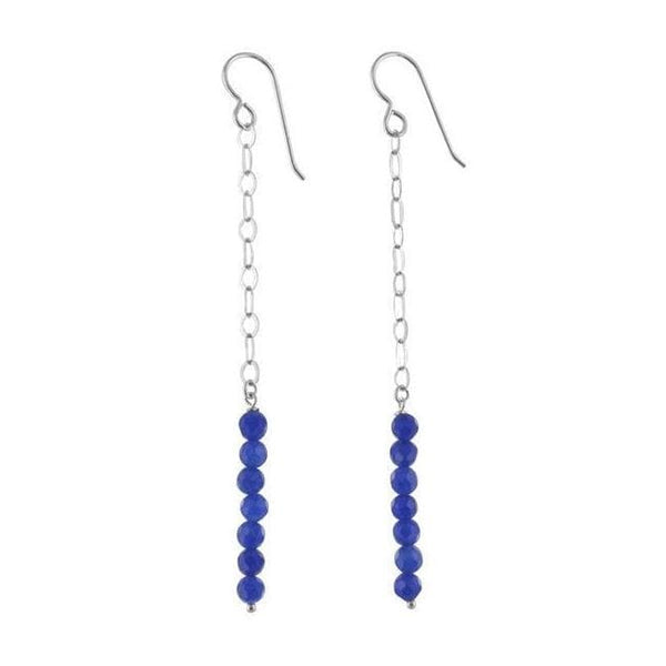Navy Blue Jade Gemstone Sterling Silver Handcrafted Earrings - Earrings