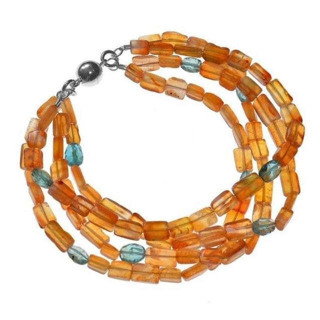 Neon Apatite and Carnelian Natural Gemstone Sterling Silver Handmade Bracelet with Easy Magnetic Clasp - Bracelets