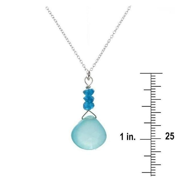 Neon Blue Apatite & Aqua Chalcedony Briolette Sterling Silver Handmade Pendant with 18 Chain - Necklaces