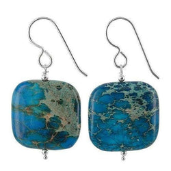 Ocean Blue Jasper Earrings | Square Gemstones | Blue Jewelry - Earrings